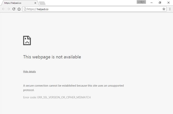error ERR_SSL_VERSION_OR_CIPHER_MISMATCH