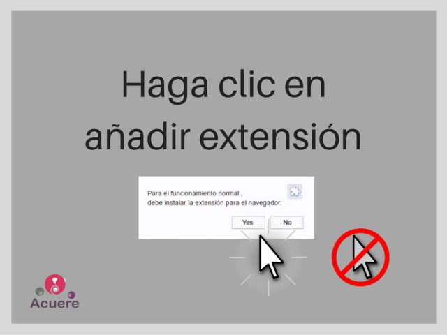 Haga clic en añadir extensión para cerrar esta pagina