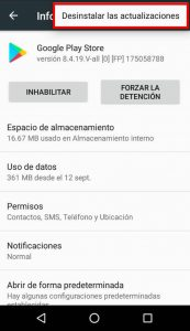 Desinstalar actualizaciones Google Playstore