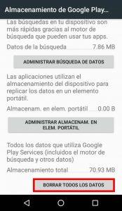 Eliminar datos PlayServices