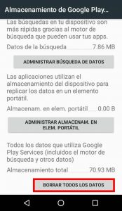 Eliminar datos Google Play Services