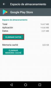 Eliminar datos playstore
