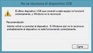 no se reconoce el dispositivo USB