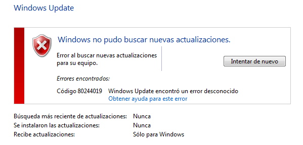 Solución al error 80244019