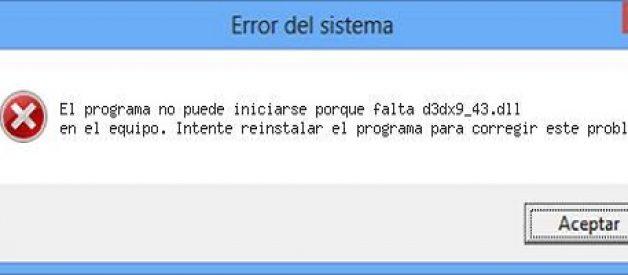 Solucionar error d3dx9_43.dll